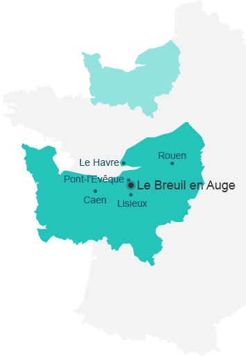 Carte de situation du Breuil en Auge en Normandie